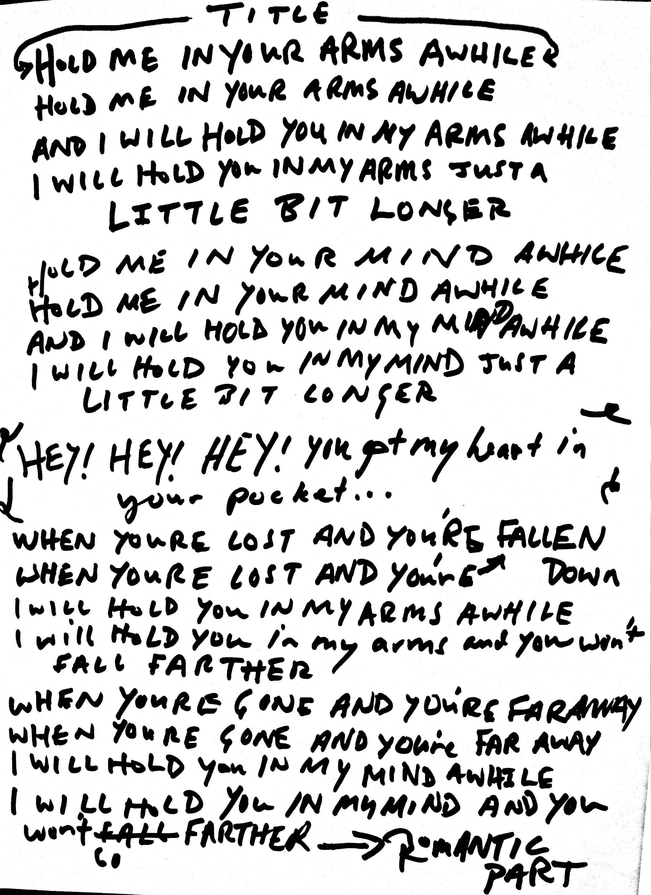 11 In Your Arms Awhile Lyrics